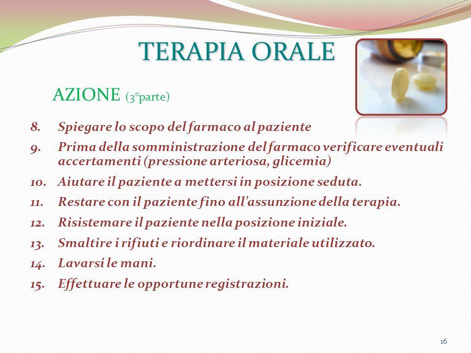 16 AZIONE (3°parte) TERAPIA ORALE 8.Spiegare lo scopo del farmaco al paziente 9.Prima della somministrazione del farmaco verificare eventuali accertam