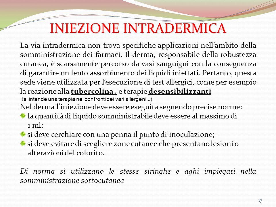 17 INIEZIONE INTRADERMICA La via intradermica non trova specifiche applicazioni nell'ambito della somministrazione dei farmaci. Il derma, responsabile