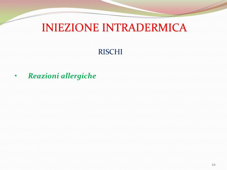 22 INIEZIONE INTRADERMICA RISCHI Reazioni allergiche