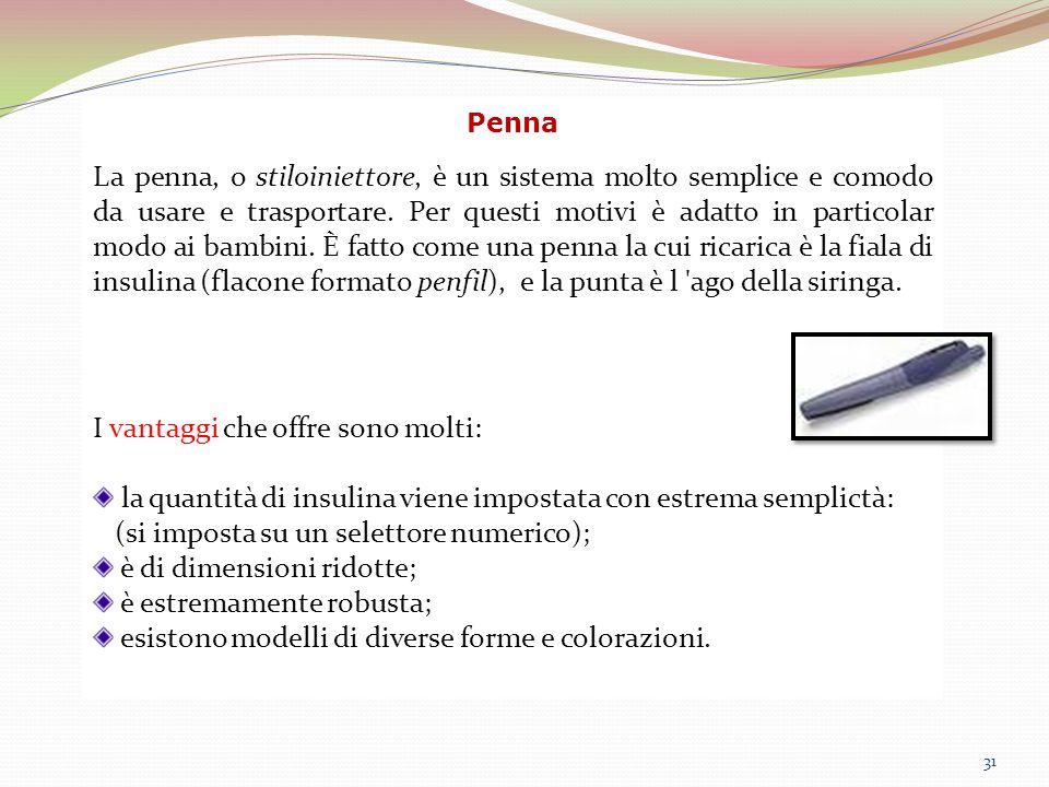31 Penna La penna, o stiloiniettore, è un sistema molto semplice e comodo da usare e trasportare. Per questi motivi è adatto in particolar modo ai bam