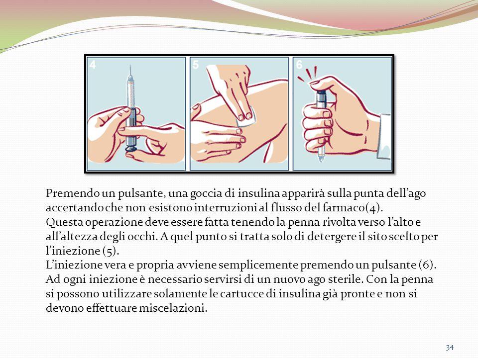 34 Premendo un pulsante, una goccia di insulina apparirà sulla punta dell'ago accertando che non esistono interruzioni al flusso del farmaco(4). Quest