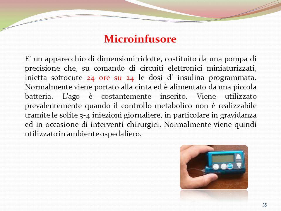 35 Microinfusore E' un apparecchio di dimensioni ridotte, costituito da una pompa di precisione che, su comando di circuiti elettronici miniaturizzati