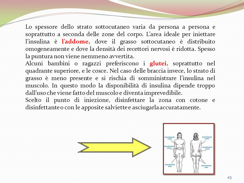 45 Lo spessore dello strato sottocutaneo varia da persona a persona e soprattutto a seconda delle zone del corpo. L'area ideale per iniettare l'insuli
