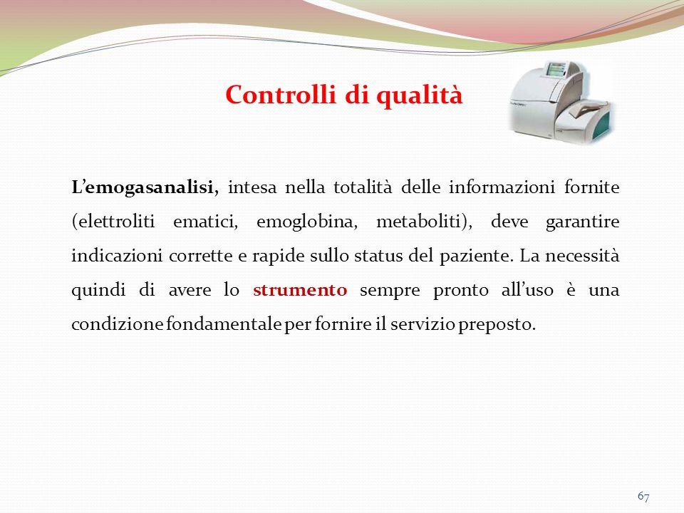 67 Controlli di qualità L'emogasanalisi, intesa nella totalità delle informazioni fornite (elettroliti ematici, emoglobina, metaboliti), deve garantir