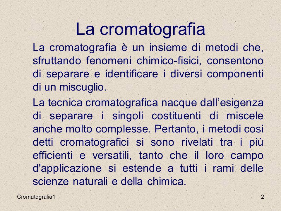 2 La cromatografia La cromatografia è un insieme di metodi che, sfruttando fenomeni chimico-fisici, consentono di separare e identificare i diversi componenti di un miscuglio.