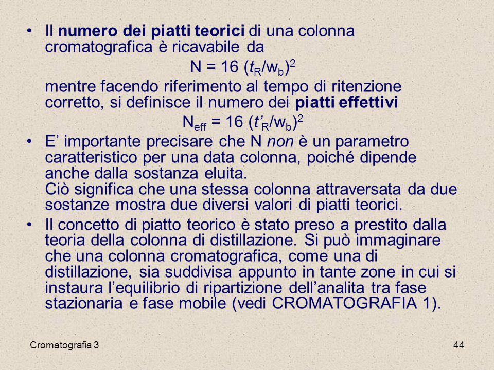 Cromatografia 344 Il numero dei piatti teorici di una colonna cromatografica è ricavabile da N = 16 (t R /w b ) 2 mentre facendo riferimento al tempo di ritenzione corretto, si definisce il numero dei piatti effettivi N eff = 16 (t' R /w b ) 2 E' importante precisare che N non è un parametro caratteristico per una data colonna, poiché dipende anche dalla sostanza eluita.