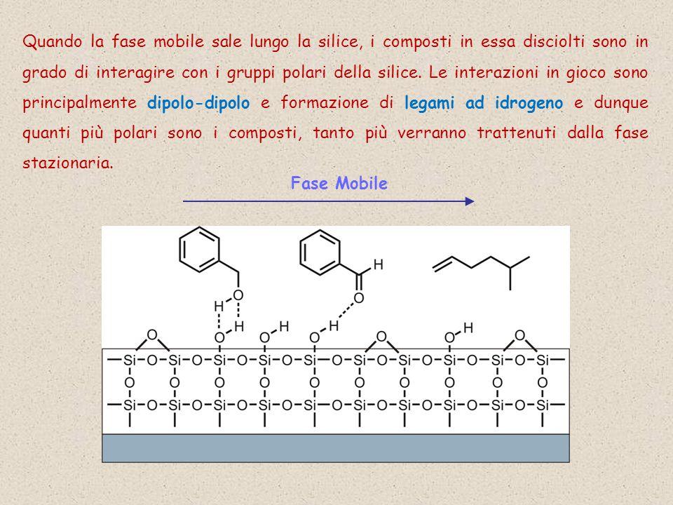 Quando la fase mobile sale lungo la silice, i composti in essa disciolti sono in grado di interagire con i gruppi polari della silice.