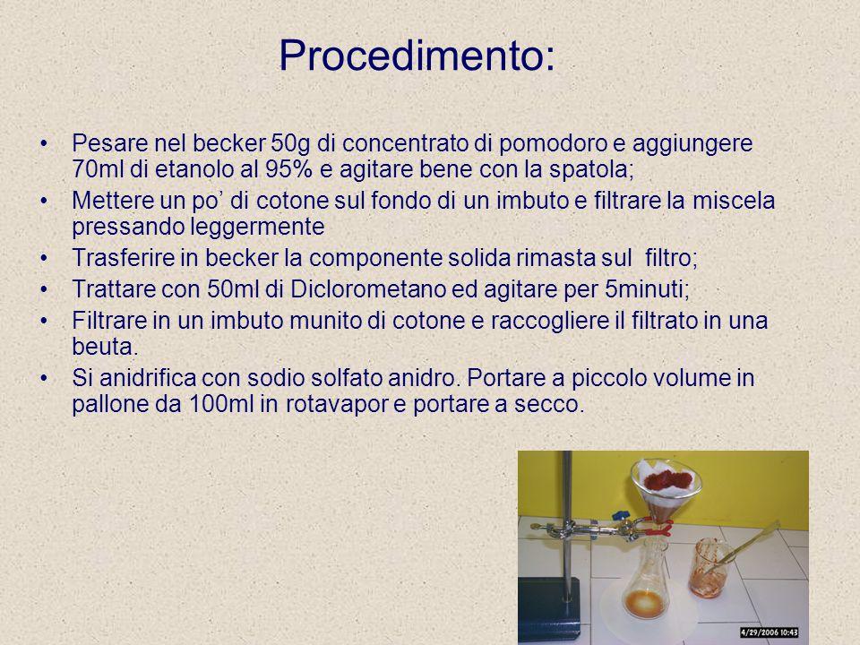 Procedimento: Pesare nel becker 50g di concentrato di pomodoro e aggiungere 70ml di etanolo al 95% e agitare bene con la spatola; Mettere un po' di cotone sul fondo di un imbuto e filtrare la miscela pressando leggermente Trasferire in becker la componente solida rimasta sul filtro; Trattare con 50ml di Diclorometano ed agitare per 5minuti; Filtrare in un imbuto munito di cotone e raccogliere il filtrato in una beuta.