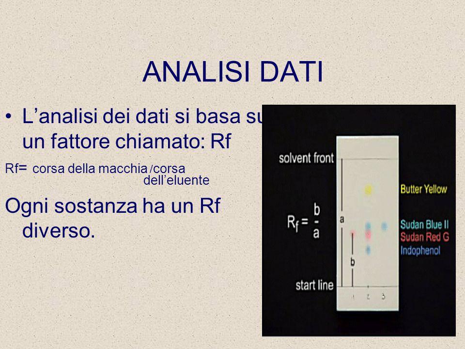 ANALISI DATI L'analisi dei dati si basa su un fattore chiamato: Rf Rf = corsa della macchia / corsa dell'eluente Ogni sostanza ha un Rf diverso.
