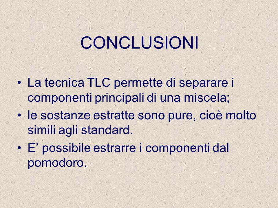 CONCLUSIONI La tecnica TLC permette di separare i componenti principali di una miscela; le sostanze estratte sono pure, cioè molto simili agli standard.