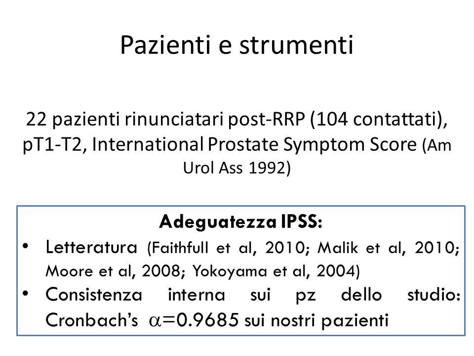 Pazienti e strumenti 22 pazienti rinunciatari post-RRP (104 contattati), pT1-T2, International Prostate Symptom Score (Am Urol Ass 1992) Adeguatezza I