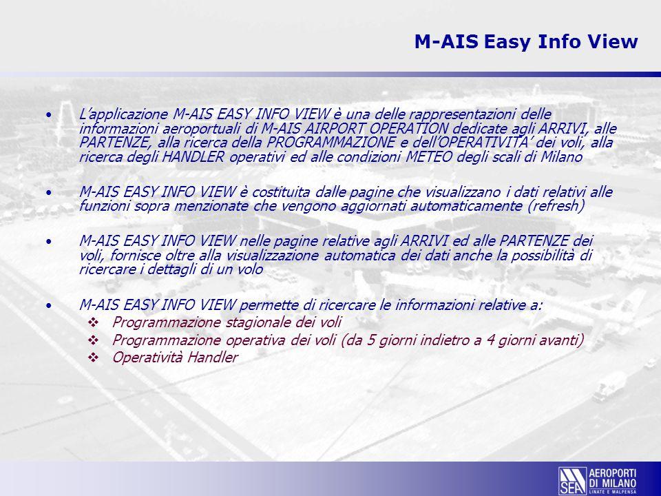 M-AIS Easy Info View L'applicazione M-AIS EASY INFO VIEW nelle pagine relative agli ARRIVI ed alle PARTENZE presenta le seguenti informazioni di dettaglio:  Compagnia e numero del volo  Indicatore multiflight (voli marketing)  Tipo di volo e Tipo traffico  Scalo di provenienza, eventuale scalo intermedio e scalo di  destinazione  Orari schedulati, stimati ed effettivi  Terminal  Carosello di riconsegna bagagli  Indicatore area Schengen  Note operative  L'applicazione M-AIS EASY INFO VIEW nella pagina relativa al  METEO presenta le seguenti informazioni di dettaglio:  Condizioni del vento  Visibilità  Fenomeni atmosferici sullo scalo  Nuvolosità  Temperatura e punto di rugiada  Pressione a livello del mare