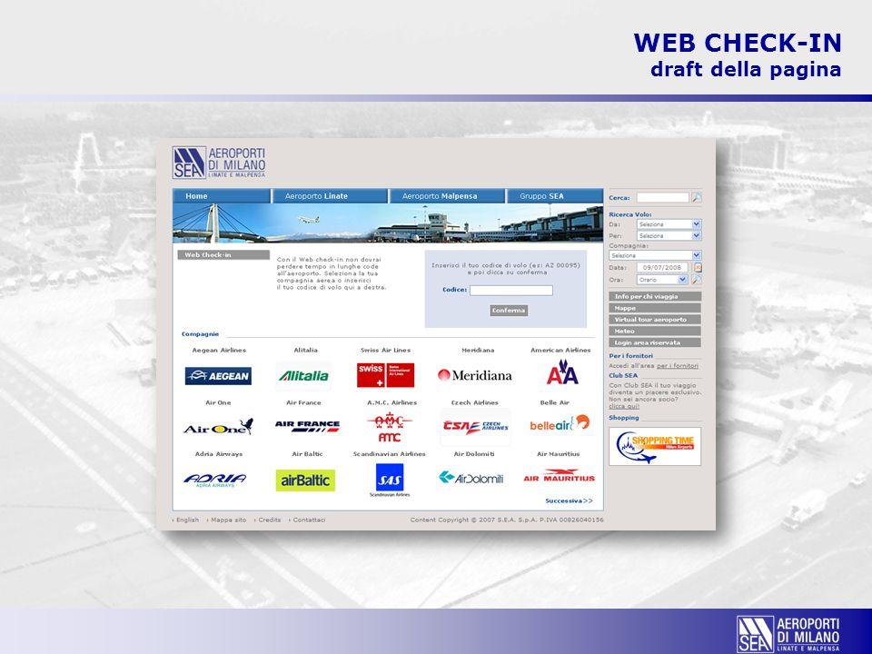 WEB CHECK-IN draft della pagina