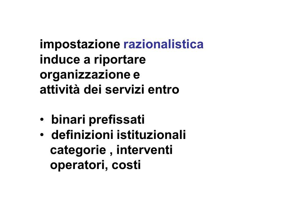 impostazione razionalistica induce a riportare organizzazione e attività dei servizi entro binari prefissati definizioni istituzionali categorie, interventi operatori, costi