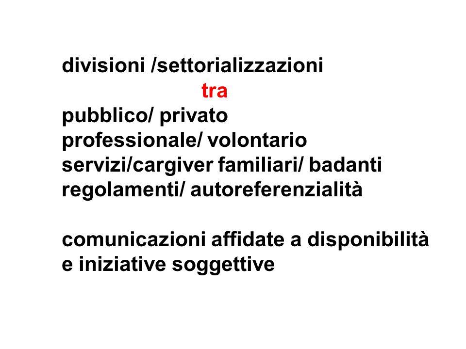 divisioni /settorializzazioni tra pubblico/ privato professionale/ volontario servizi/cargiver familiari/ badanti regolamenti/ autoreferenzialità comunicazioni affidate a disponibilità e iniziative soggettive