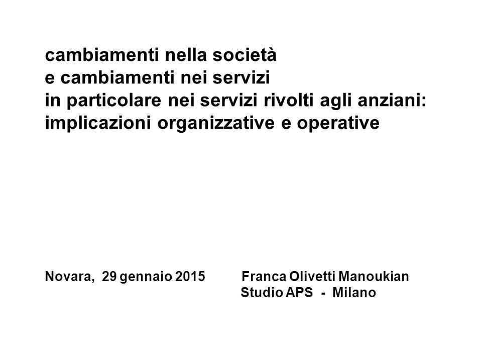 cambiamenti nella società e cambiamenti nei servizi in particolare nei servizi rivolti agli anziani: implicazioni organizzative e operative Novara, 29 gennaio 2015 Franca Olivetti Manoukian Studio APS - Milano
