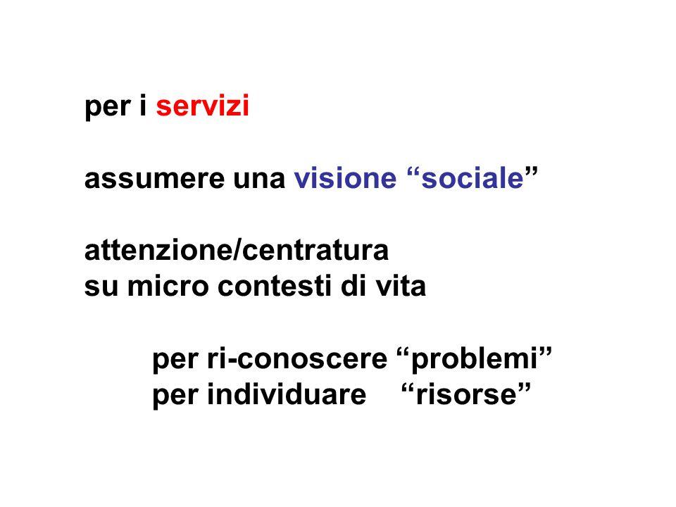 per i servizi assumere una visione sociale attenzione/centratura su micro contesti di vita per ri-conoscere problemi per individuare risorse