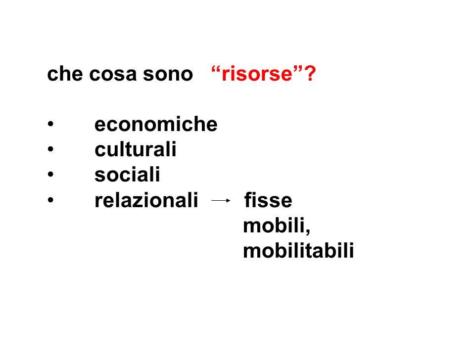 che cosa sono risorse economiche culturali sociali relazionali fisse mobili, mobilitabili