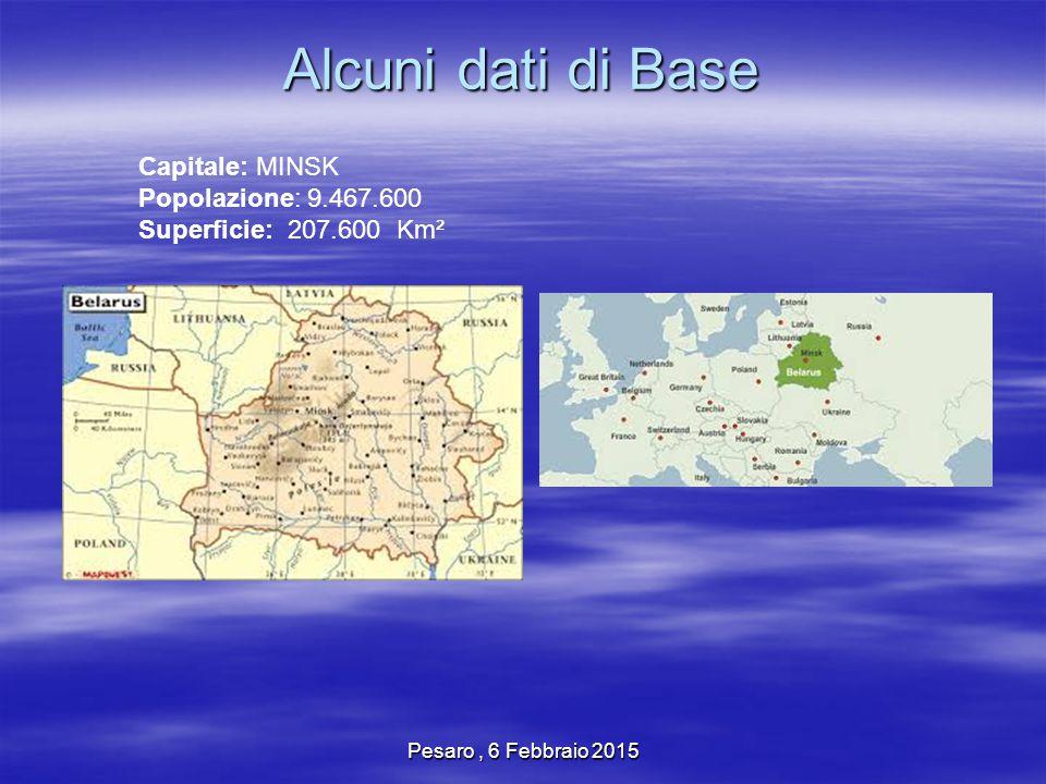 Pesaro, 6 Febbraio 2015 Alcuni dati di Base Capitale: MINSK Popolazione: 9.467.600 Superficie: 207.600 Km²