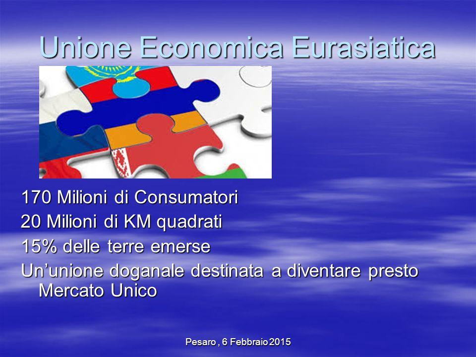Pesaro, 6 Febbraio 2015 Unione Economica Eurasiatica 170 Milioni di Consumatori 20 Milioni di KM quadrati 15% delle terre emerse Un'unione doganale destinata a diventare presto Mercato Unico
