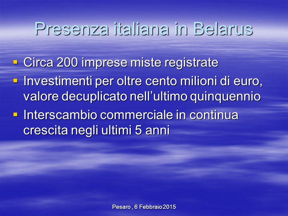 Pesaro, 6 Febbraio 2015 Presenza italiana in Belarus  Circa 200 imprese miste registrate  Investimenti per oltre cento milioni di euro, valore decuplicato nell'ultimo quinquennio  Interscambio commerciale in continua crescita negli ultimi 5 anni