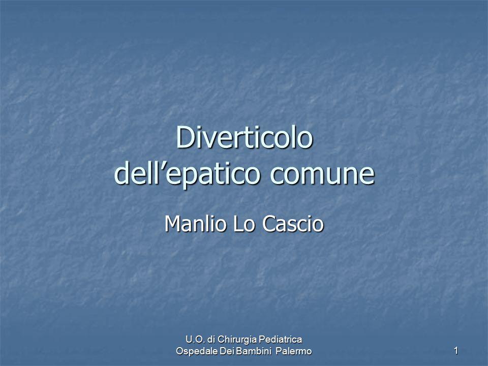 U.O. di Chirurgia Pediatrica Ospedale Dei Bambini Palermo 1 Diverticolo dell'epatico comune Manlio Lo Cascio