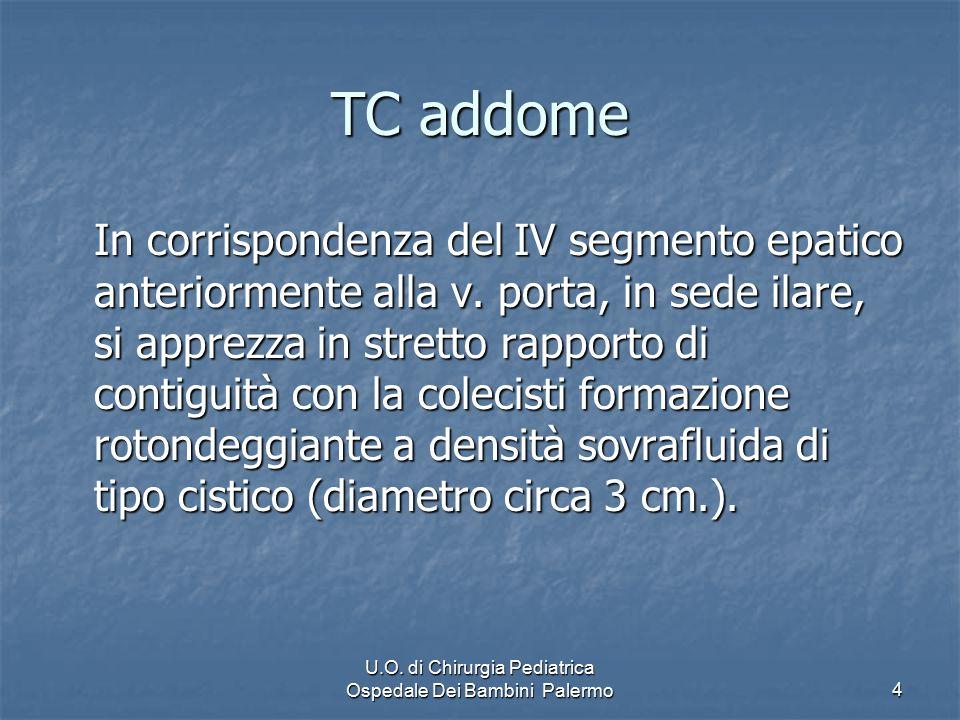 U.O. di Chirurgia Pediatrica Ospedale Dei Bambini Palermo4 TC addome In corrispondenza del IV segmento epatico anteriormente alla v. porta, in sede il