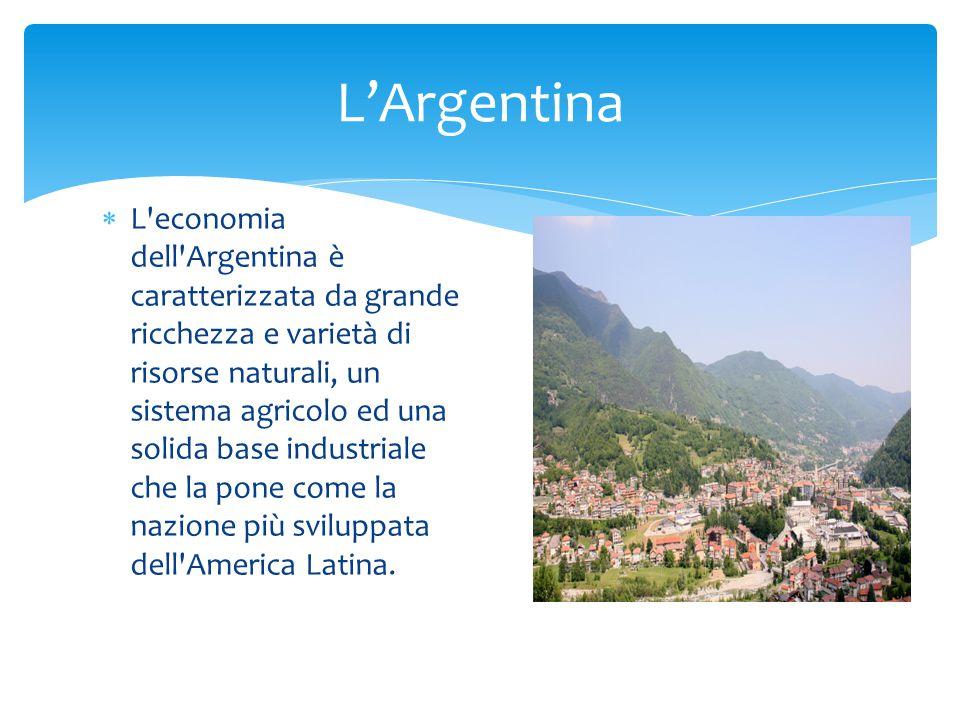  L economia dell Argentina è caratterizzata da grande ricchezza e varietà di risorse naturali, un sistema agricolo ed una solida base industriale che la pone come la nazione più sviluppata dell America Latina.
