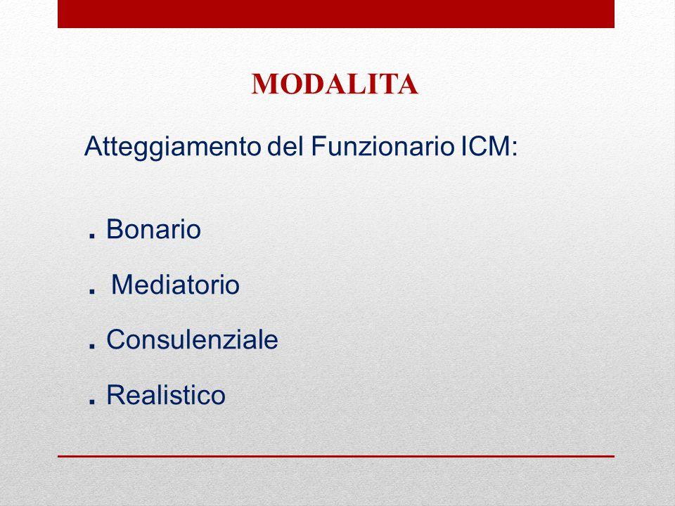 Atteggiamento del Funzionario ICM:. Bonario. Mediatorio. Consulenziale. Realistico MODALITA