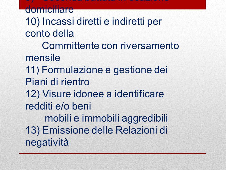 8) Ricerche anagrafiche (ove necessarie ) 9) Seconda battuta in esazione domiciliare 10) Incassi diretti e indiretti per conto della Committente con r