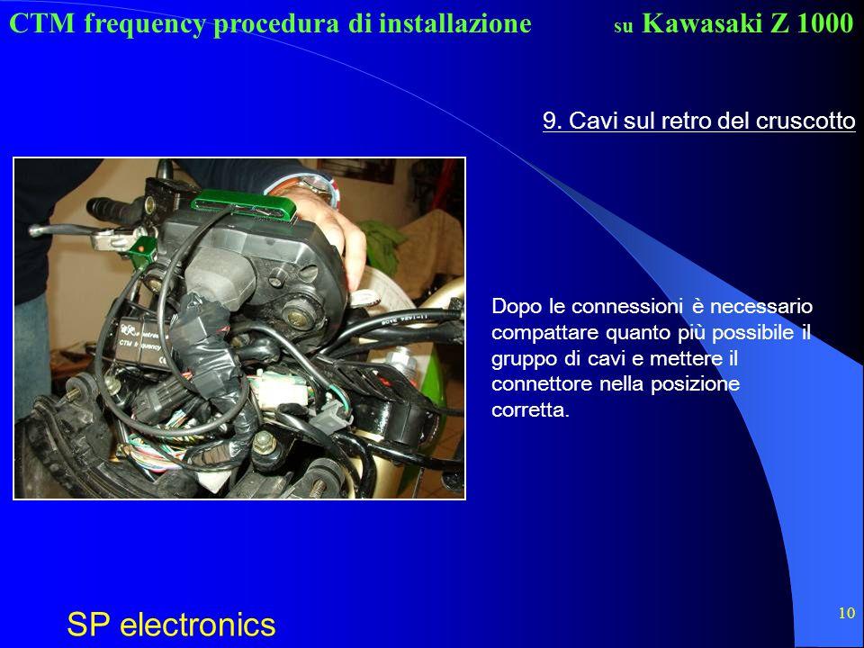 CTM frequency procedura di installazione SP electronics su Kawasaki Z 1000 10 9. Cavi sul retro del cruscotto Dopo le connessioni è necessario compatt