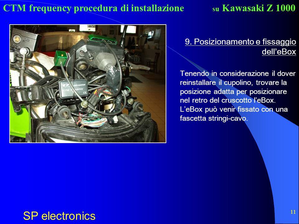CTM frequency procedura di installazione SP electronics su Kawasaki Z 1000 11 9. Posizionamento e fissaggio dell'eBox Tenendo in considerazione il dov