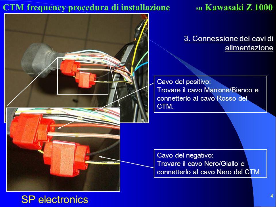 CTM frequency procedura di installazione SP electronics su Kawasaki Z 1000 4 3. Connessione dei cavi di alimentazione Cavo del positivo: Trovare il ca