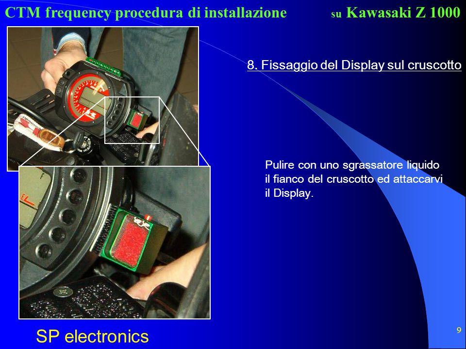CTM frequency procedura di installazione SP electronics su Kawasaki Z 1000 9 8. Fissaggio del Display sul cruscotto Pulire con uno sgrassatore liquido