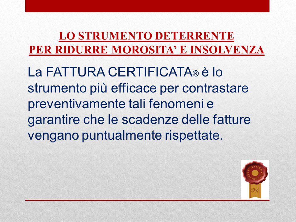 La FATTURA CERTIFICATA ® è lo strumento più efficace per contrastare preventivamente tali fenomeni e garantire che le scadenze delle fatture vengano puntualmente rispettate.
