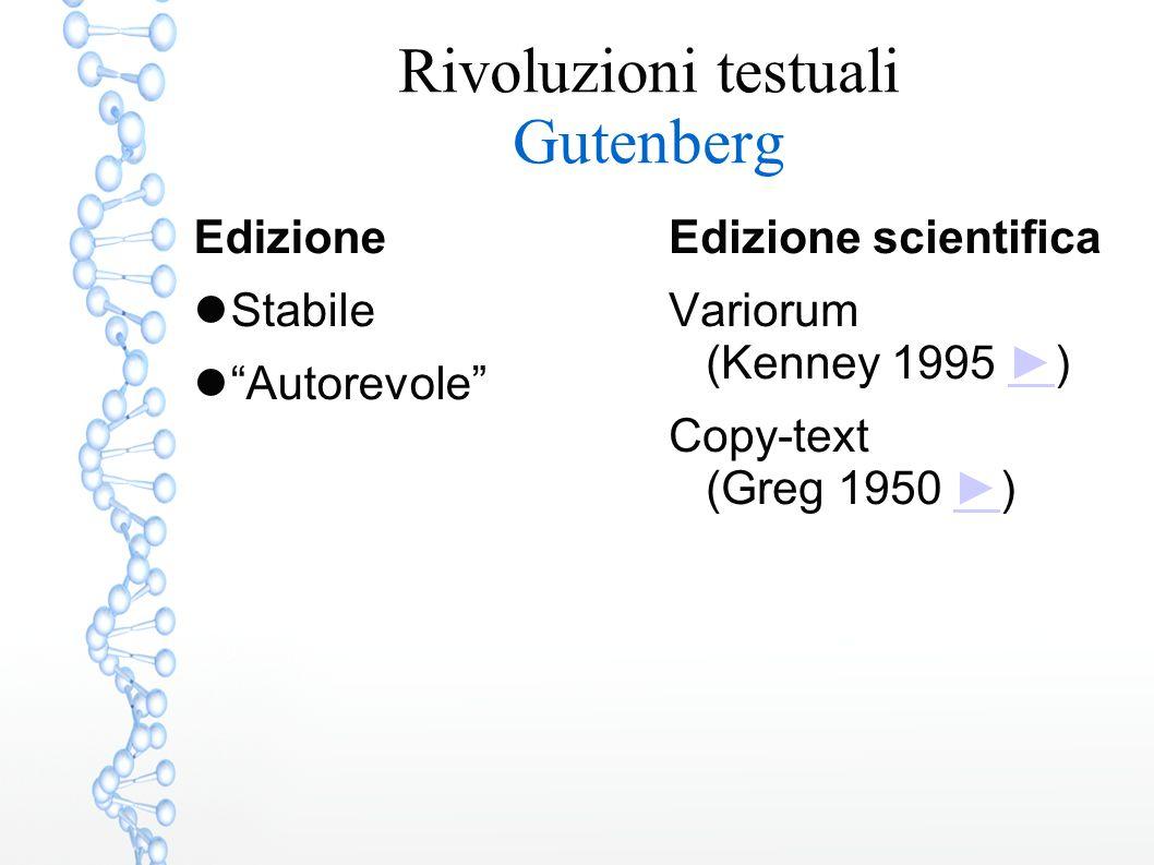 """Rivoluzioni testuali Gutenberg Edizione Stabile """"Autorevole"""" Edizione scientifica Variorum (Kenney 1995 ►)► Copy-text (Greg 1950 ►)►"""