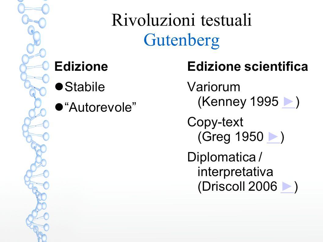 Rivoluzioni testuali Gutenberg Edizione Stabile Autorevole Edizione scientifica Variorum (Kenney 1995 ►)► Copy-text (Greg 1950 ►)► Diplomatica / interpretativa (Driscoll 2006 ►)►