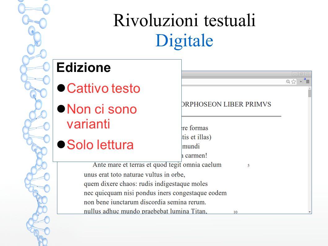 Edizione Cattivo testo Non ci sono varianti Solo lettura Rivoluzioni testuali Digitale