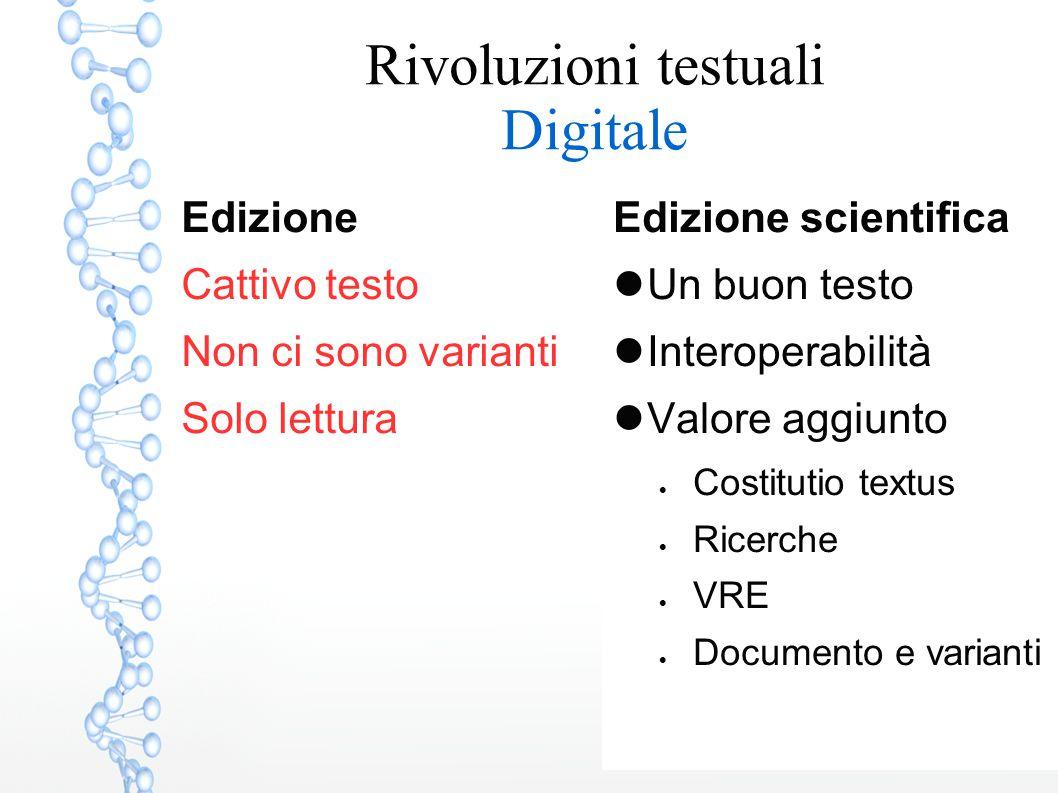 Edizione scientifica Un buon testo Interoperabilità Valore aggiunto  Costitutio textus  Ricerche  VRE  Documento e varianti Edizione Cattivo testo Non ci sono varianti Solo lettura