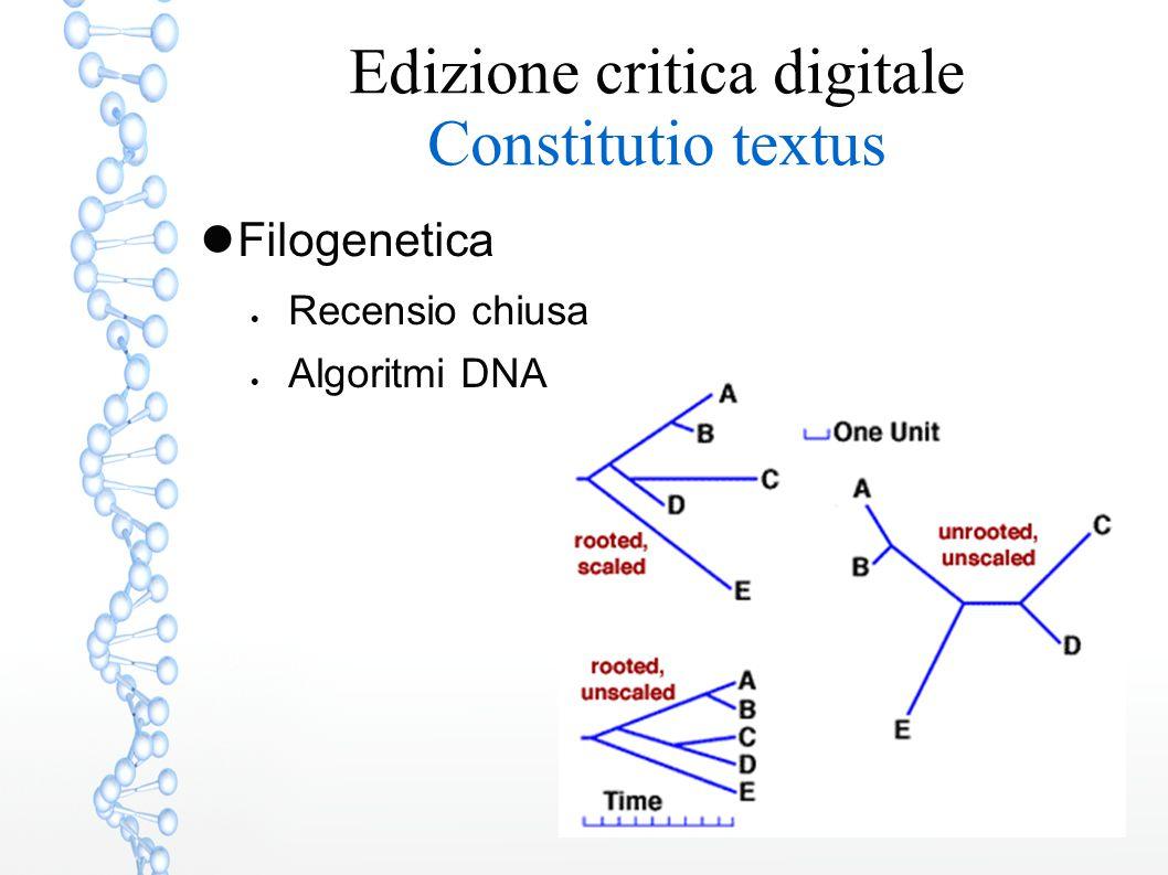 Edizione critica digitale Constitutio textus Filogenetica  Recensio chiusa  Algoritmi DNA