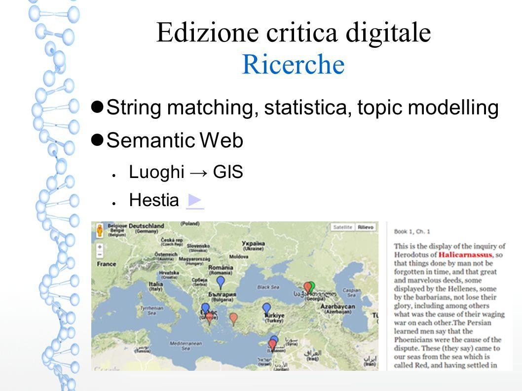 Edizione critica digitale Ricerche String matching, statistica, topic modelling Semantic Web  Luoghi → GIS  Hestia ►►