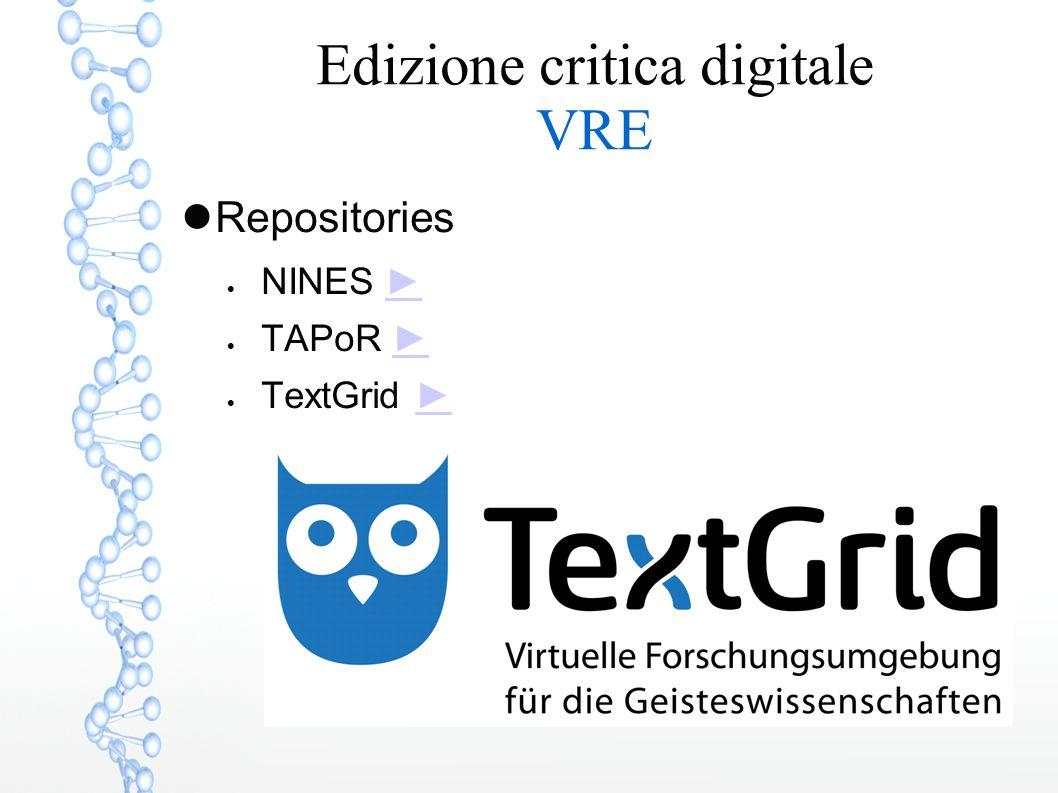 Edizione critica digitale VRE Repositories  NINES ►►  TAPoR ►►  TextGrid ►►