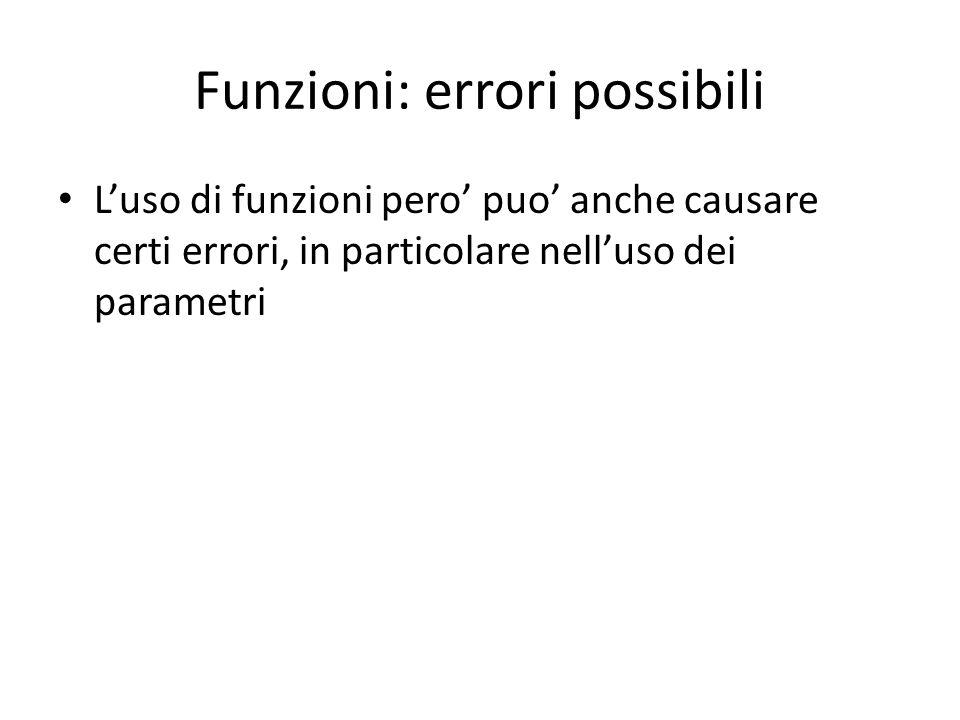 Funzioni: errori possibili L'uso di funzioni pero' puo' anche causare certi errori, in particolare nell'uso dei parametri