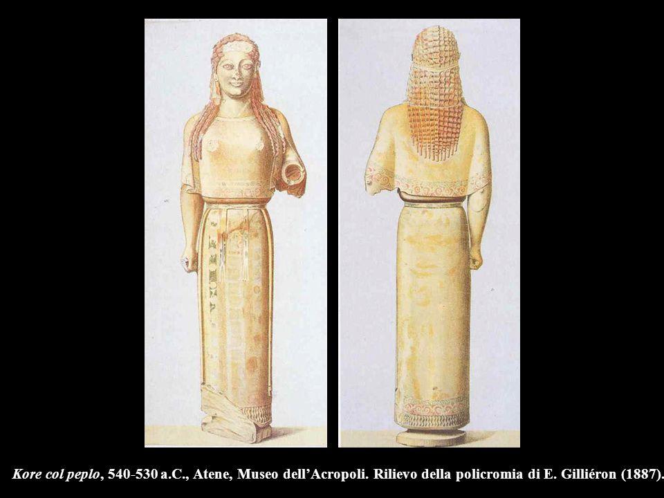Kore col peplo, 540-530 a.C., Atene, Museo dell'Acropoli. Rilievo della policromia di E. Gilliéron (1887).
