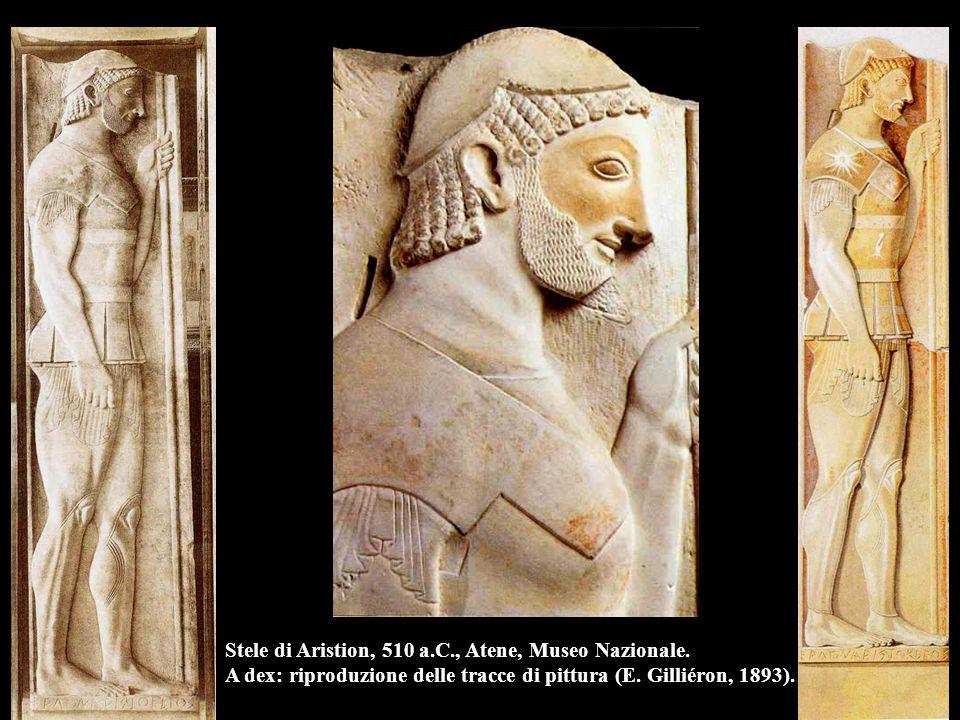 Stele di Aristion, 510 a.C., Atene, Museo Nazionale. A dex: riproduzione delle tracce di pittura (E. Gilliéron, 1893).