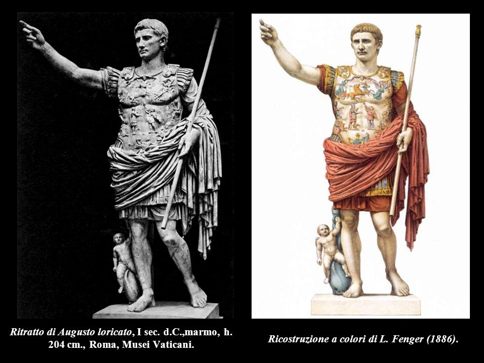Ritratto di Augusto loricato, I sec. d.C.,marmo, h. 204 cm., Roma, Musei Vaticani. Ricostruzione a colori di L. Fenger (1886).