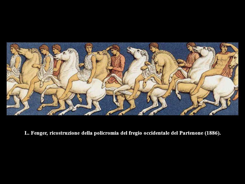 L. Fenger, ricostruzione della policromia del fregio occidentale del Partenone (1886).