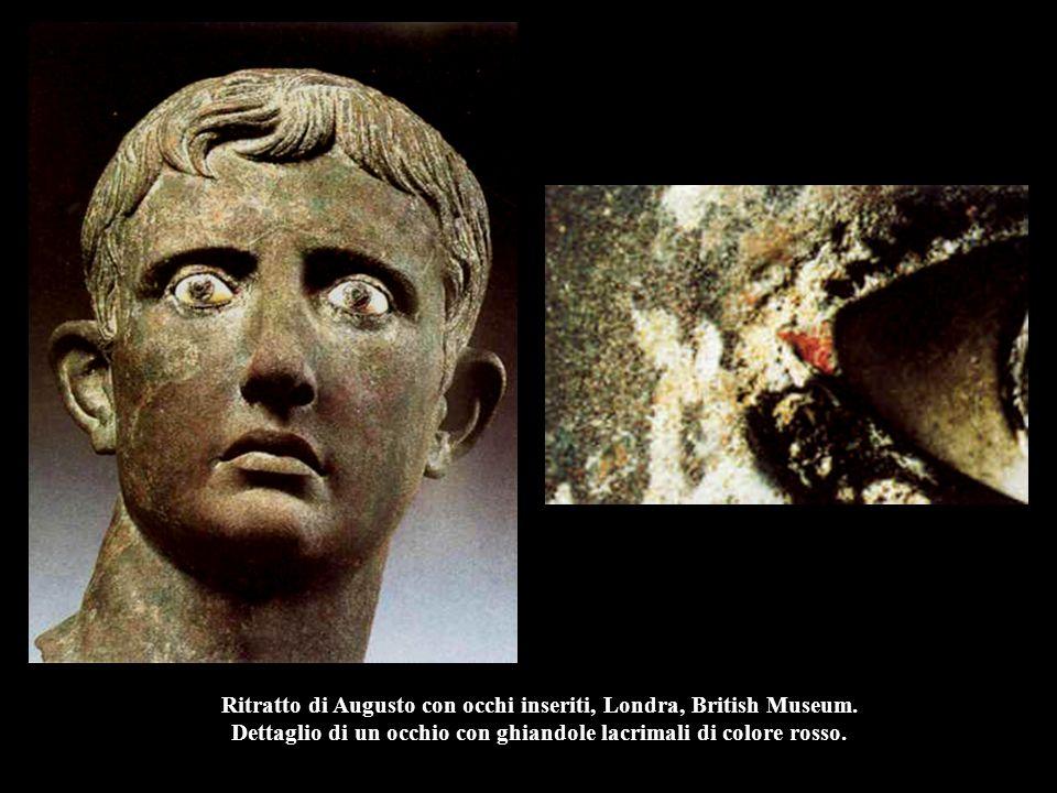 Ritratto di Augusto con occhi inseriti, Londra, British Museum. Dettaglio di un occhio con ghiandole lacrimali di colore rosso.