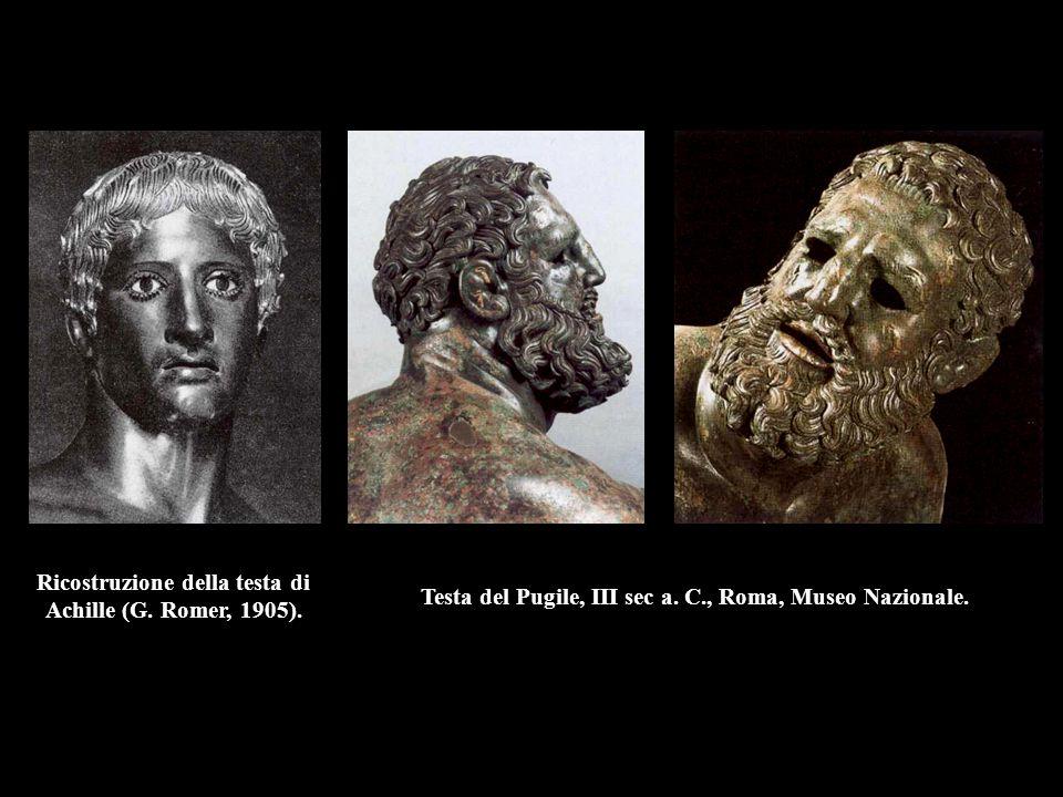 Ricostruzione della testa di Achille (G. Romer, 1905). Testa del Pugile, III sec a. C., Roma, Museo Nazionale.