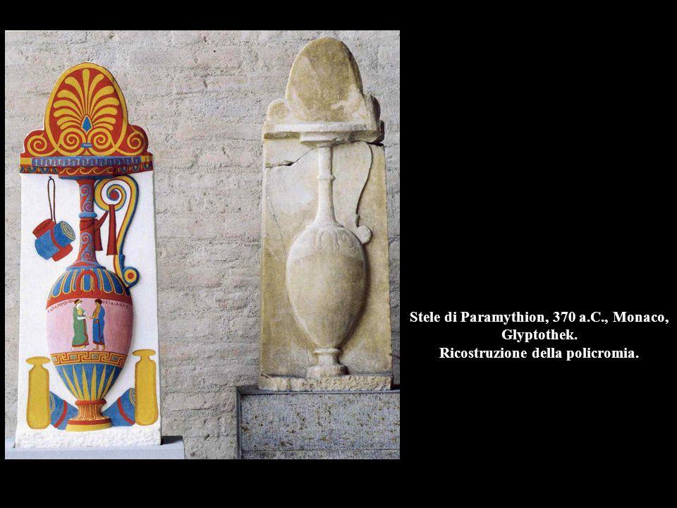 Stele di Paramythion, 370 a.C., Monaco, Glyptothek. Ricostruzione della policromia.